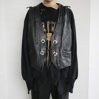 old lace up leather vest