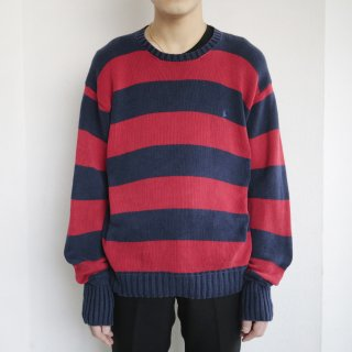 old polo border cotton sweater