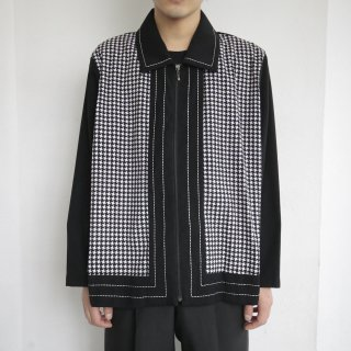 old houndstooth zipped jacket