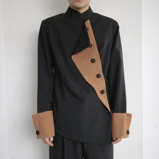 old asymmetry draping jacket