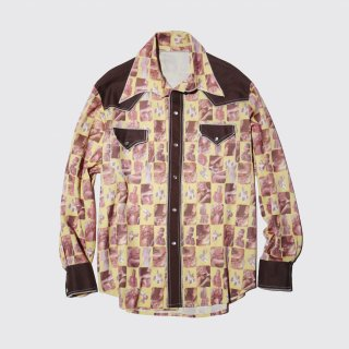 vintage film poly western shirt