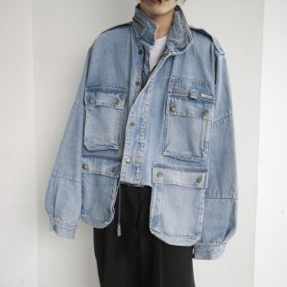 old resized short denim field jacket