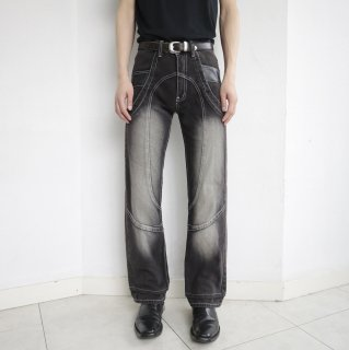 old rounded stitch denim pants
