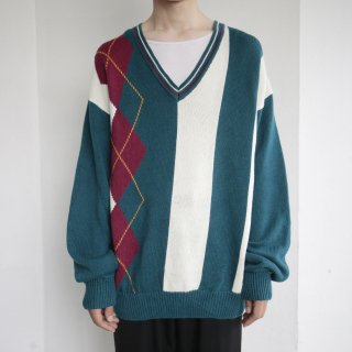 old argyle loose cotton v sweater