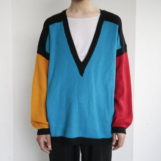 old multi color deep v sweater