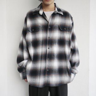 old loose ombre check heavy flannel shirt