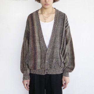 old ramie/cotton check cardigan