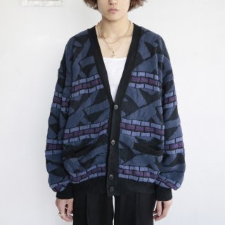 old 3d pattern loose cardigan