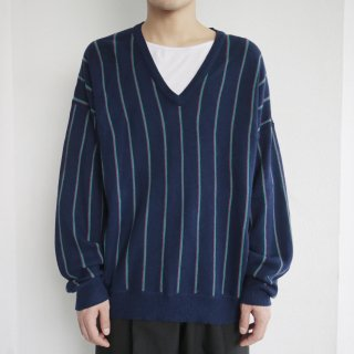 vintage stripe acrylic v sweater