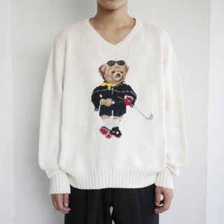 old polo sport bear cotton v sweater