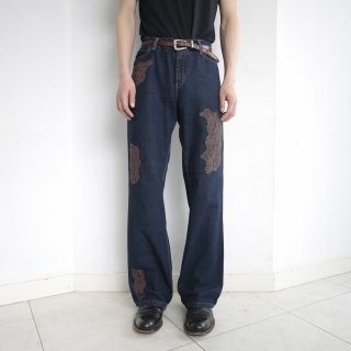 old lace collage flare denim pants