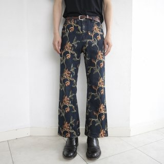 old broderie flare denim pants