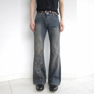 old butterfly broderie flare denim pants
