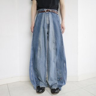 remake rebuilding wide denim pants