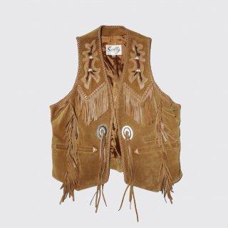 vintage western fringe suede vest