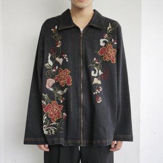 old broderie zipped denim jacket