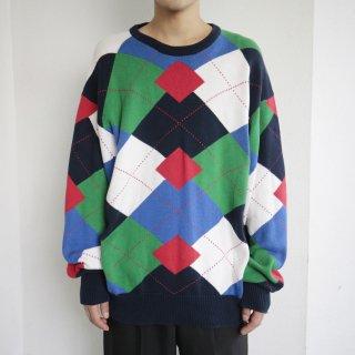 old hand intarsia argyle sweater