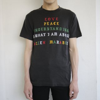 90's flock print message tee , body-fruits of the loom best