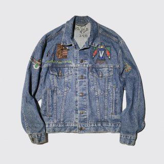vintage hand broidered trucker jacket