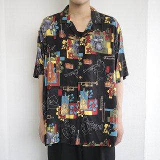 [40%OFF]old jazz pattern rayon aloha shirt