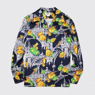 [50%OFF]vintage flower poly shirt