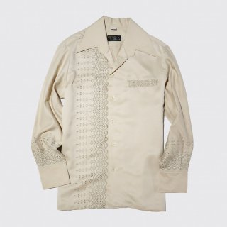 vintage broderie open collar shirt