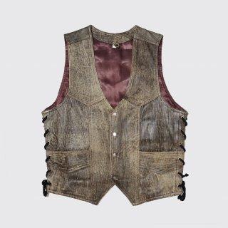 vintage laceup leather vest