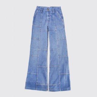 vintage lee patchwork flare jeans