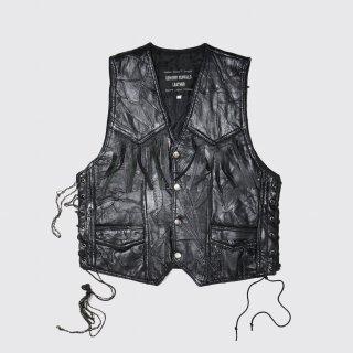 vintage lace up leather vest