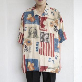 old collage pattern silk h/s shirt