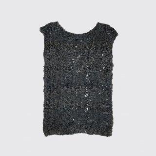 vintage mesh leather vest