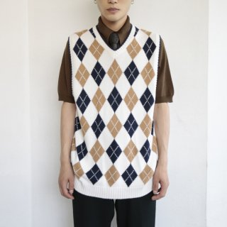 old tommy argyle cotton knit vest