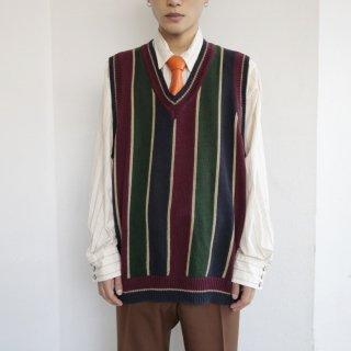 old 2face border cotton knit vest