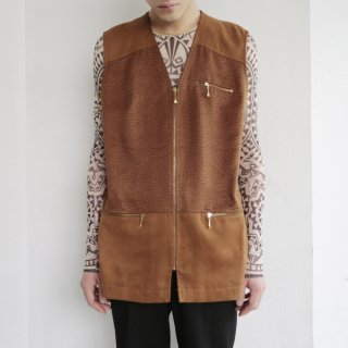 old euro faux leopard vest