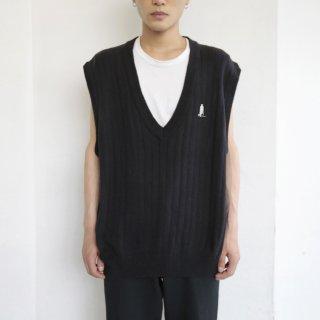 old deep v cotton rib knit vest