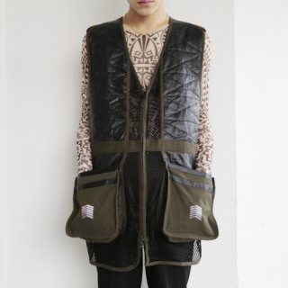 old leather combi shooting vest