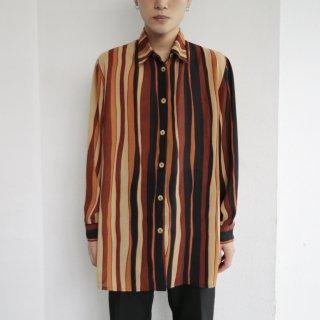 old irregular stripe sheer shirt