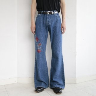 old broiderie flare jeans
