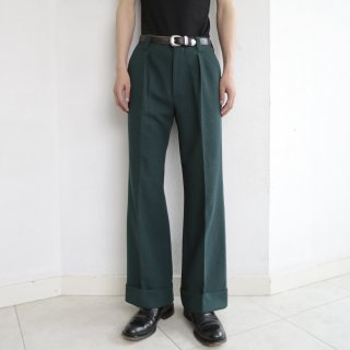 vintage 1tuck flare poly trousers
