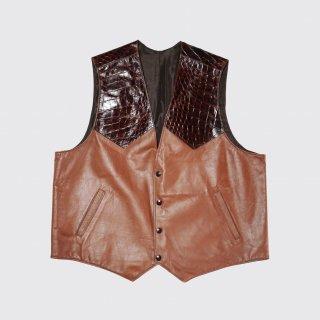 vintage combi leather gillet vest