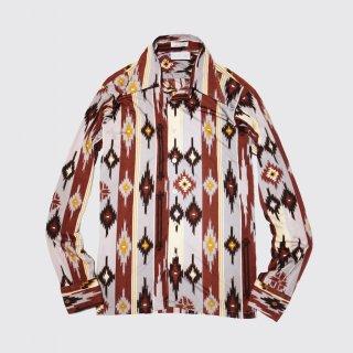 vintage naitive pattern poly l/s shirt