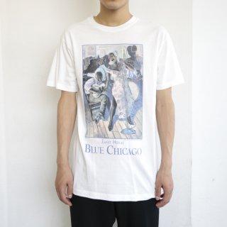 90's blue chicago art tee , body-jerzees