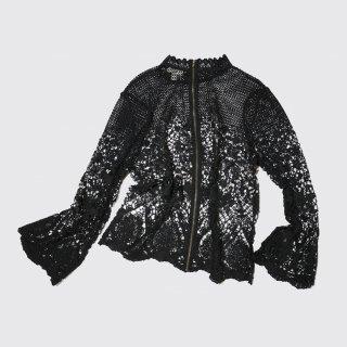 vintage lace zipped l/s