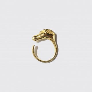 vintage hermes cheval ring , palladium plated on brass
