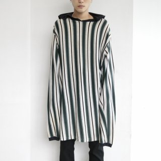 [30%OFF]old oversized stripe hooded cut sew