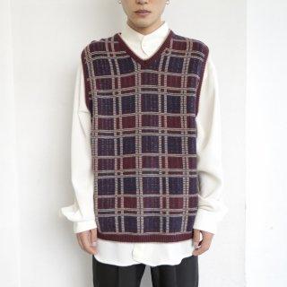 old check cotton knit vest