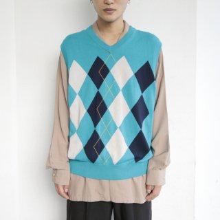 old argyle cotton knit vest