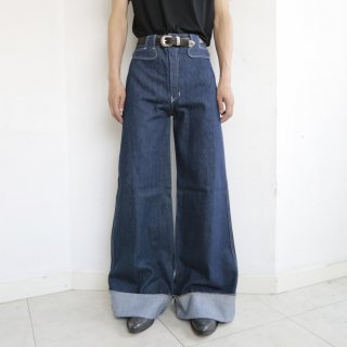 vintage french big bell flare jeans , dead stock