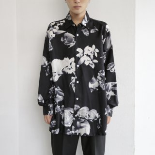 old french fish and flower art silk l/s shirt