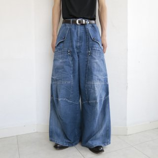 old marithé françois girbaud draping wide jeans